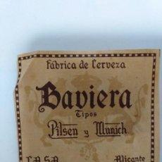 Etiquetas antiguas: ETIQUETA CERVEZA. BAVIERA . ALICANTE.. Lote 198164248
