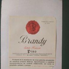 Etiquetas antiguas: ETIQUETA BRANDY ESTILO FRANCES - PINO. Lote 198485676