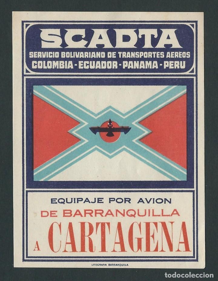 ETIQUETA SCADTA SERVICIO BOLIVARIANO DE TRANSPORTES AEREOS DE BARRANQUILLA A CARTAGENA (Coleccionismo - Etiquetas)