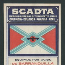 Etiquetas antiguas: ETIQUETA SCADTA SERVICIO BOLIVARIANO DE TRANSPORTES AEREOS DE BARRANQUILLA A CARTAGENA. Lote 198638568