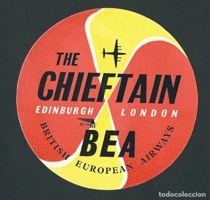 ETIQUETA BEA BRITISH EUROPEAN AIRWAYS EDINBURGH LONDON (Coleccionismo - Etiquetas)