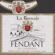 Etiquetas antiguas: ETIQUETA VINO 1989 FRANCIA FRANCE FENDANT LA TORNALE VIN WEIN VINHO. Lote 198851273
