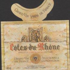 Etiquetas antiguas: ETIQUETA VINO 1989 FRANCIA FRANCE COTES DU RHONE VIN WEIN VINHO. Lote 198851371