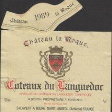 Etiquetas antiguas: ETIQUETA VINO 1989 FRANCIA FRANCE CHATEAU LA ROQUE COTEAUX LANGUEDOR VIN WEIN VINHO. Lote 198851536