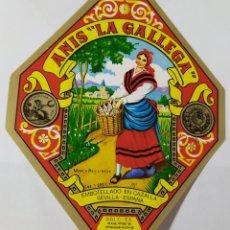 Etiquetas antiguas: ETIQUETA- ANÍS LA GALLEGA - SEVILLA. Lote 198856981