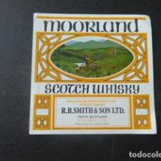 Etiquetas antiguas: ETIQUETA WHISKY MOORLAND. Lote 199226187