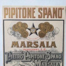 Etiquetas antiguas: UNICA Y ANTIGUA ETIQUETA PIPITONE SPANO MARSALLA INGHILTERRA L.P. VINI FINI MARSALA. Lote 199374550