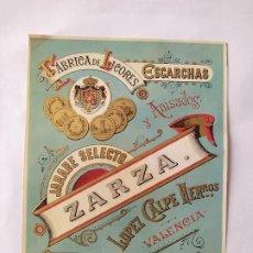 Etiquetas antiguas: ETIQUETA ZARZA FABRICA DE LICORES ESCARCHAS VALENCIA. Lote 199375197