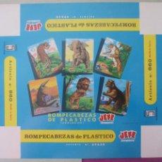 Etiquetas antiguas: ETIQUETA CAJA DE JUEGOS ROMPECABEZAS DE PLASTICO ZOOLOGICO JEFE Nº860, CA1. Lote 199446852