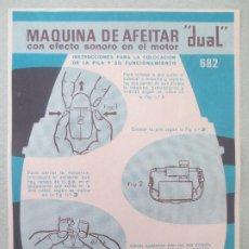 Etiquetas antiguas: ETIQUETA MAQUINA DE AFEITAR DUAL INSTRUCCIONES COLOCACION PILA Y FUNCIONAMIENTO, 682, PAYA CA2. Lote 199447683