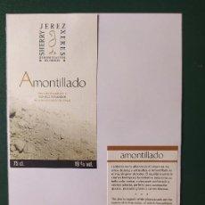 Etiquetas antiguas: ETIQUETAS AMONTILLADO JEREZ. Lote 199621515