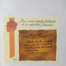 Etiquetas antiguas: ETIQUETA VINO ROSADO CAMPO DE BORJA. Lote 199622358