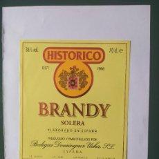 Etiquetas antiguas: ETIQUETA BRANDY SOLERA . Lote 199622395