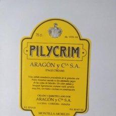 Etiquetas antiguas: ETIQUETA PILICRIM. Lote 199622456