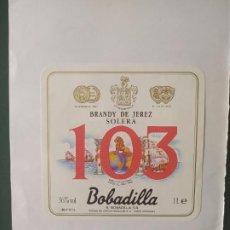 Etiquetas antiguas: ETIQUETA BRANDY DE JEREZ 103 BARBADILLA. Lote 199622578