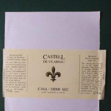 Etiquetas antiguas: ETIQUETA CAVA CASTELL. Lote 199622996