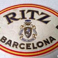 Etiquetas antiguas: ANTIGUA ETIQUETA DEL HOTEL RITZ DE BARCELONA.. Lote 199793627