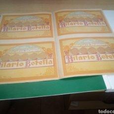 Etiquetas antigas: ANTIGUO BLOQUE COMPLETO SIN CORTAR 4 ETIQUETAS DESTILERÍAS HILARIO BOTELLA JÁTIVA (VALENCIA). P SXX. Lote 213631810