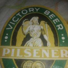 Etiquetas antiguas: ETIQUETA VICORY BEER PILSENER EXPORT. Lote 200027643