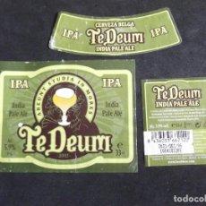 Etiquetas antiguas: CERVEZA-V9ET-6-ETIQUETAS-TEDEUM. Lote 200082085
