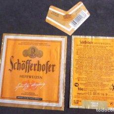 Etiquetas antiguas: CERVEZA-V9ET-6-ETIQUETAS-SCHOFFERHOFER. Lote 200082242