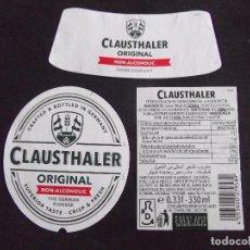 Etiquetas antiguas: CERVEZA-V9ET-6-ETIQUETAS-CLAUSTHALER. Lote 200082293