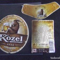 Etiquetas antiguas: CERVEZA-V9ET-7-ETIQUETAS-KOZEL. Lote 200286965