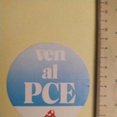 Etiquetas antiguas: PEGATINA POLITICA PARTIDO POLÍTICO, VEN AL PCE, PARTIDO COMUNISTA DE ESPAÑA.. Lote 201365150