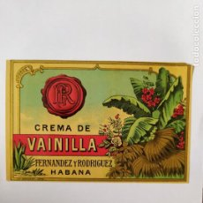 Etiquetas antiguas: ANTIGUA ETIQUETA CREMA DE VAINILLA HABANA FERNANDEZ Y RODRIGUEZ. Lote 201726065