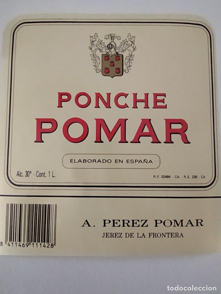 ETIQUETA DE PONCHE POMAR A.PEREZ POMAR ( BODEGAS GARVEY) (Coleccionismo - Etiquetas)