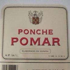 Etiquetas antiguas: ETIQUETA DE PONCHE POMAR A.PEREZ POMAR ( BODEGAS GARVEY). Lote 202029131