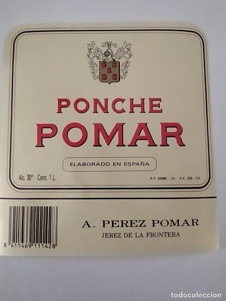 Etiquetas antiguas: ETIQUETA DE PONCHE POMAR A.PEREZ POMAR ( BODEGAS GARVEY) - Foto 2 - 202029131