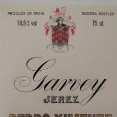 Etiquetas antiguas: ETIQUETA PEDRO XIMENEZ SHERRY ESPECIAL ( BODEGAS GARVEY). Lote 202029346