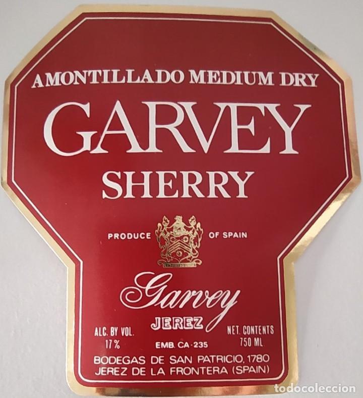 Etiquetas antiguas: CUATRO ETIQUETAS DE VINO BODEGAS GARVEY JEREZ SHERRY - Foto 3 - 202029693