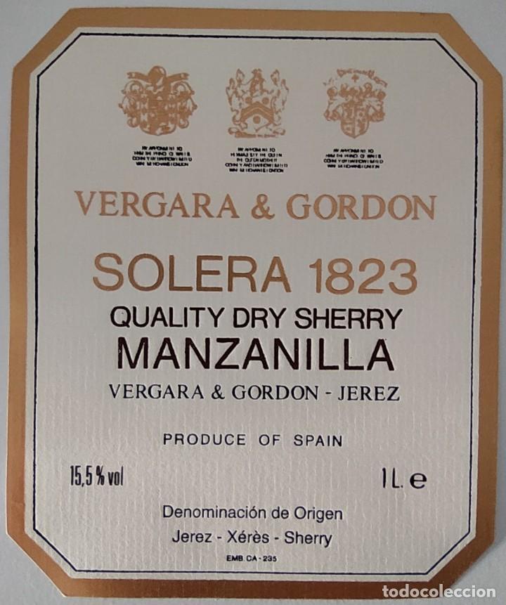 CINCO ETIQUETAS DE VINO BODEGAS VERGARA & GORDON SOLERA 1823 (Coleccionismo - Etiquetas)