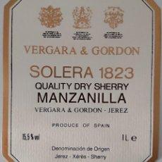Etiquetas antiguas: CINCO ETIQUETAS DE VINO BODEGAS VERGARA & GORDON SOLERA 1823. Lote 202029815