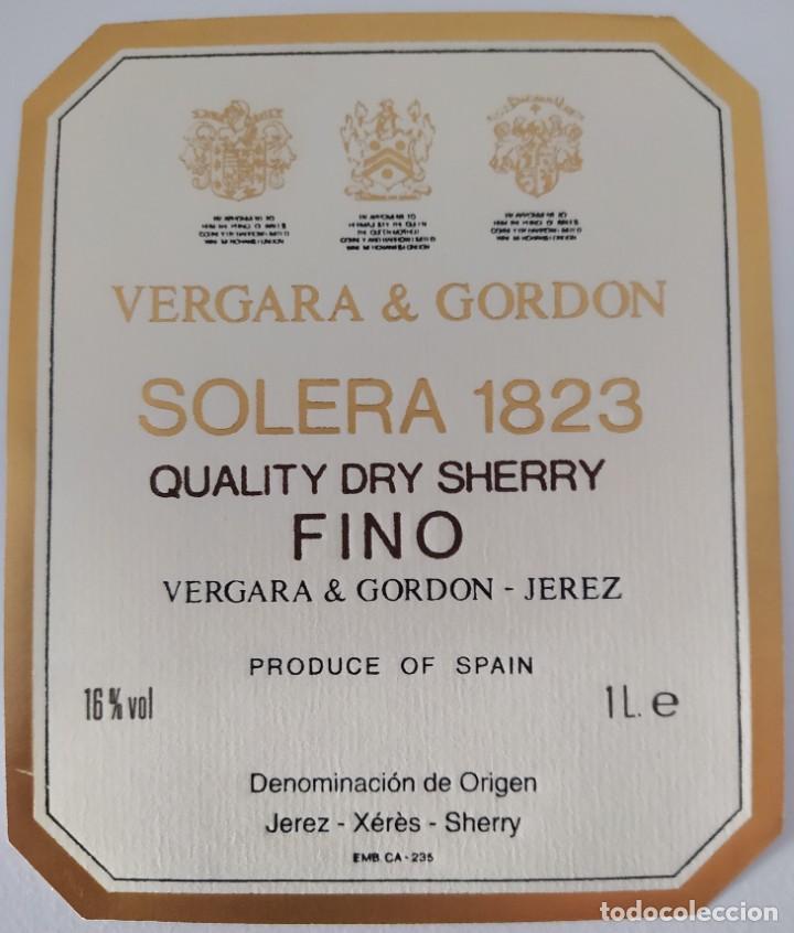 Etiquetas antiguas: CINCO ETIQUETAS DE VINO BODEGAS VERGARA & GORDON SOLERA 1823 - Foto 5 - 202029815
