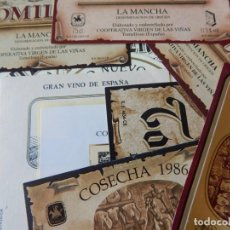 Etiquetas antiguas: LOTE DE 13 ETIQUETAS ANTIGUAS DE TOMELLOSO. Lote 202074958