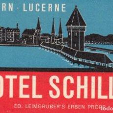 Étiquettes anciennes: ETIQUETA HOTEL SCHILLER LUZERN-LUCERNE SUIZA. Lote 202698295