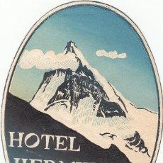Étiquettes anciennes: ETIQUETA HOTEL HERMITAGE EVOLENE - SUIZA. Lote 202700661