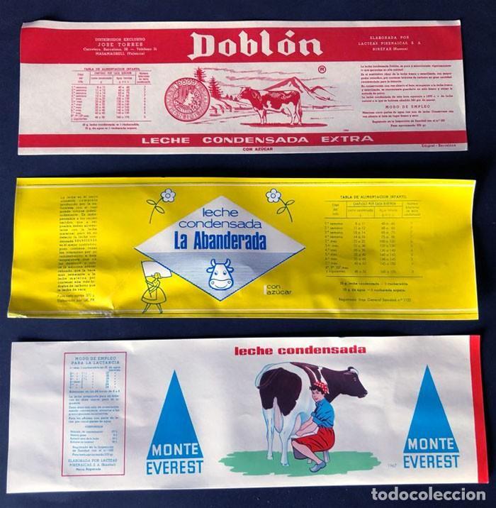3 ETIQUETAS LECHE CONDENSADA / LACTEAS PIRENAICAS ( BINEFAR - HUESCA ) AÑOS 60 / ORIGINALES (Coleccionismo - Etiquetas)