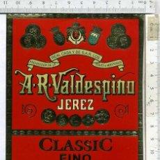 Etiquetas antiguas: ETIQUETA VINO FINO A.R. VALDESPINO JEREZ DE LA FRONTERA. Lote 203441250