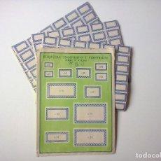 Étiquettes anciennes: 420 ANTIGUAS ETIQUETAS PERFORADAS.SOBRE COMPLETO -10 HOJAS-.1940/50. Lote 203611226