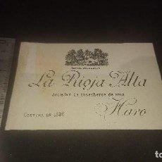 Etiquetas antiguas: ANTIGUA ETIQUETA O PROPAGANDA - LA RIOJA ALTA SOCIEDAD DE COSECHEROS DE VINO HARO , LEER DESCRIPCION. Lote 203731120
