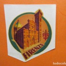 Étiquettes anciennes: CALCA AL AGUA TRANSFERIBLE FIRENZA FLORENCIA ITALIA - ADHESIVO. Lote 203806881