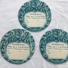 Etiquetas antiguas: 3 ANTIGUAS ETIQUETAS FARMACIA MODERNA VDA. DE J. CASTRO.- POZOBLANCO. Lote 204667496