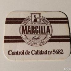 Etiquetas antiguas: CAFES A LA CREMA MARCILLA. CONTROL DE CALIDAD. CARTONCITO.. Lote 204848077