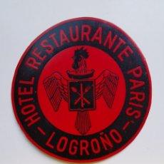 Etiquetas antiguas: ETIQUETA DEL HOTEL RESTAURANTE PARÍS DE LOGROÑO. Lote 205592720