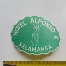 Etiquetas antiguas: ETIQUETA DEL HOTEL ALFONSO X DE SALAMANCA. Lote 205605055