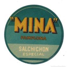 Etiquetas antiguas: ETIQUETA- MINA. SALCHICHÓN ESPECIAL- PAMPLONA. Lote 205683361